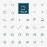 32 camera and video line icons. Vector Royalty Free Stock Images