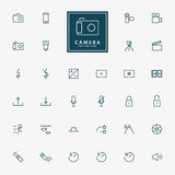 32 camera and video minimal outline icons Royalty Free Stock Images