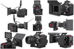 Camera video optical device set Stock Images