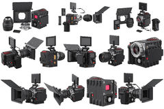 Camera video professional set Royalty Free Stock Photography