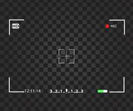 Camera view finder focusing. Screen recording Video screen vector viewfinder Stock Photos
