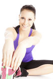 Lucky woman stretches her body Royalty Free Stock Photo