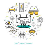 Camera view 360 - Line Art Royalty Free Stock Photos