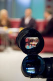 Camera viewfinder. Video camera viewfinder in professional TV studio stock photo