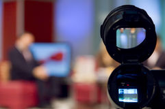 Camera viewfinder. Video camera viewfinder in professional TV studio royalty free stock image