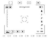 Camera viewfinder display. Exposure and composition focus, electronic zoom, photography optical, finder and screen, vector illustration Stock Photo