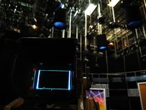 Camera viewfinder in a television studio. The lights on the grid are off royalty free stock photography