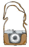 Camera vintage art And strap by hand draft Stock Image