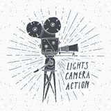 Camera vintage label, Hand drawn sketch, grunge textured retro badge, typography design t-shirt print, vector illustration Stock Photo