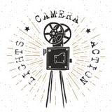 Camera vintage label, Hand drawn sketch, grunge textured retro badge, typography design t-shirt print, vector illustration Royalty Free Stock Photo