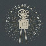 Camera vintage label, Hand drawn sketch, grunge textured retro badge, typography design t-shirt print, vector illustration Royalty Free Stock Image