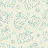 Camera Vintage Seamless Pattern. Cartoon doodle style. Royalty Free Stock Photography