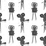 Camera vintage seamless pattern, handdrawn sketch, retro movie. And film industry, vector illustration Royalty Free Stock Images