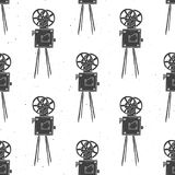 Camera vintage seamless pattern, handdrawn sketch. Retro movie and film industry, vector illustration Royalty Free Stock Photography