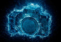 Camera - water splashes. Royalty Free Stock Images