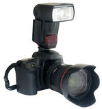 Camera With External Flash Royalty Free Stock Image