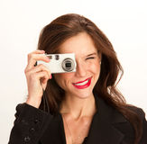 Camera Woman Brunette Point and Shoot Royalty Free Stock Image