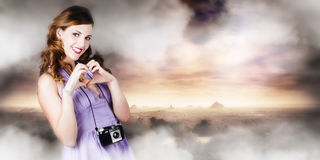 Camera Woman In Love With Taking Landscape Photos Royalty Free Stock Photo