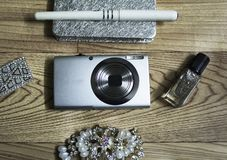 Camera and women accessories. stock photography
