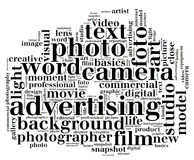 Camera word cloud in camera shape. A word cloud is a visual representation for text data to visualize free form text Stock Photo