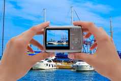 Camera and yachts Stock Images