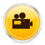 Camera yellow circle icon Stock Image
