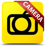 Camera yellow square button red ribbon in corner. Camera  on yellow square button with red ribbon in corner abstract illustration Stock Photography