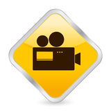 Camera yellow square icon. Yellow square icon isolated on a white background. Vector illustration Royalty Free Stock Photos