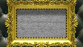 Camera zoom into the gold picture frame on background of luxury black upholstery. Tv noise and green chroma key plays on. Camera zoom into the gold picture frame stock footage