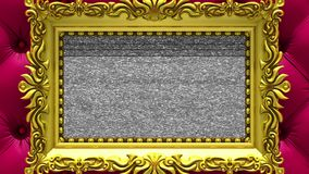 Camera zoom into the gold picture frame on background of luxury red upholstery. Tv noise and green chroma key plays on. Camera zoom into the gold picture frame stock footage