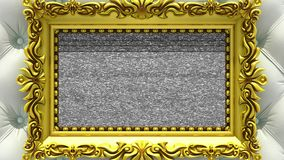 Camera zoom into the gold picture frame on background of luxury white upholstery. Tv noise and green chroma key plays on. Camera zoom into the gold picture frame stock footage