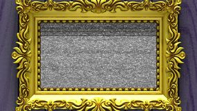 Camera zoom into the gold picture frame on background of purple wood. Tv noise and green chroma key plays on the screen. Camera zoom into the gold picture frame stock footage