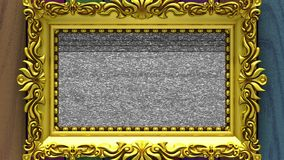 Camera zoom into the gold picture frame on background of varicolored wood. Tv noise and green chroma key plays on the. Camera zoom into the gold picture frame on stock video footage