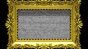 Camera zoom into the gold picture frame on black background. Tv noise and green chroma key plays on the screen. 3D. Camera zoom into the gold picture frame on stock video