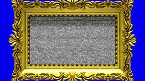 Camera zoom into the gold picture frame on blue background. Tv noise and green chroma key plays on the screen. 3D. Camera zoom into the gold picture frame on stock video footage