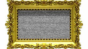 Camera zoom into the gold picture frame on white background, tv noise, green screen. Camera zoom into the gold picture frame on white background. Tv noise and stock footage