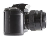 Camera with a zoom lens Royalty Free Stock Photography