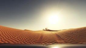 Cameraauto in de de woestijnbestuurder POV van de Sahara stock videobeelden