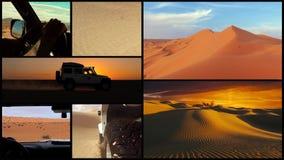 Cameraauto in de woestijn van de Sahara, collage stock videobeelden