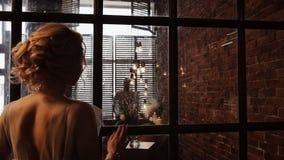 Camerabeweging aan de rug van de bruid en het silhouet van haar bruidegom Inspiratieschot stock videobeelden