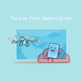 Cameradrone för levande video med smartphonen Arkivfoto