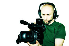Cameraman. Image with a television cameraman working with camera Royalty Free Stock Image