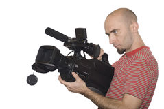 Cameraman. On a white isolated background stock images