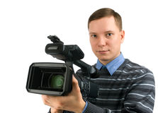 Cameraman. Isolated on a white background Stock Images