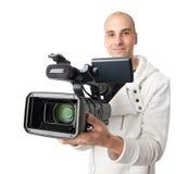 Cameraman. Isolated on white background stock photography