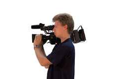 Cameraman. Young man whit digital camera a over white background Royalty Free Stock Images
