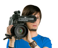Cameraman. Cameraman, isolated on white background royalty free stock photography