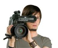 Cameraman. Cameraman, isolated on white background royalty free stock image
