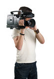 Cameraman. Cameraman, isolated on white background stock photography