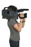 Cameraman. Cameraman, isolated on white background Stock Photos